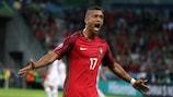 Nani comemora um dos golos apontados por Portugal no EURO 2016
