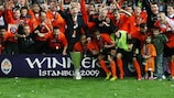 Shakhtar celebrate with the trophy in Istanbul