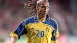 Sweden's Henrik Larsson in action