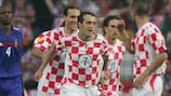 Milan Rapaić (No7) celebrates his goal against France with team-mates