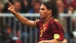 Nuno Gomes salutes the crowd after scoring twice against Turkey