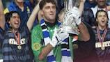 Youri Djorkaeff celebrates Inter's third UEFA Cup win