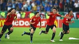 Spain players celebrate their shoot-out triumph in Vienna