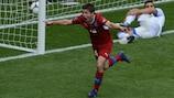 Václav Pilař celebrates after putting Czech Republic two goals in front