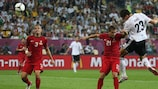 Mario Gomez heads Germany's winner against Portugal