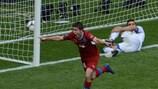 Václav Pilař esulta dopo il 2-0