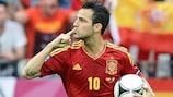 Cesc Fàbregas celebrates after scoring Spain's equaliser in Gdansk