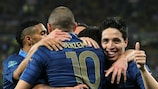 France celebrate their opening goal in Donetsk