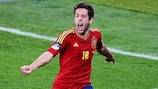 Jordi Alba celebrates scoring Spain's second in the final of UEFA EURO 2012