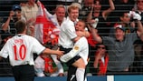 David Beckham celebrates one of his five EURO assists for England