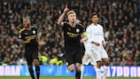 MADRID, SPAIN - FEBRUARY 26: Kevin De Bruyne of Manchester City celebrates after scoring his team's second goal during the UEFA Champions League round of 16 first leg match between Real Madrid and Manchester City at Bernabeu on February 26, 2020 in Madrid, Spain. (Photo by David Ramos/Getty Images)