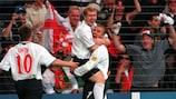 David Beckham nach einer seiner fünf Torvorlagen für England