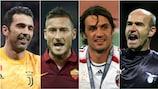Gianluigi Buffon, Francesco Totti, Paolo Maldini et Marco Ballotta