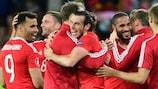 O País de Gales festeja após bater a Bélgica rumo às meias-finais do EURO 2016