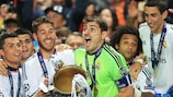 Real Madrid captain Iker Casillas lifts the trophy in 2014