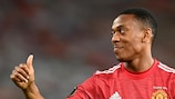 MANCHESTER, ENGLAND - AUGUST 05: Anthony Martial of Manchester United reacts during the UEFA Europa League round of 16 second leg match between Manchester United and LASK at Old Trafford on August 05, 2020 in Manchester, England. (Photo by Michael Regan/Getty Images)