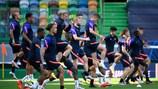 Les joueurs de Leipzig à l'entraînement.