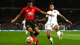 UEFA Youth League graduates Marcus Rashford and Presnel Kimpembe battle for the ball  in the UEFA Champions League