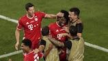 Il giocatori del Bayern esultano dopo il gol decisivo di Coman