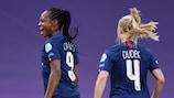 Marie-Antoinette Katoto feiert ihr Tor gegen Arsenal