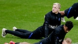 Donny van de Beek does some stretches in training