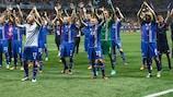 A Islândia festeja após a vitória sobre a Inglaterra em Nice