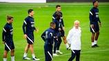 L'équipe de France lors de son dernier entraînement.