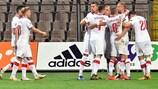 Os jogadores da Polónia festejam a obtenção do primeiro golo