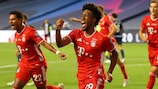Kingsley Coman celebrates his winning goal in the UEFA Champions League final