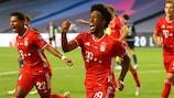 Kingsley Coman festeja após marcar o golo da vitória do Bayern na final da UEFA Champions League