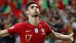 Gonçalo Guedes después de marcar el único gol en la victoria de Portugal en la primera final de la historia de la UEFA Nations League