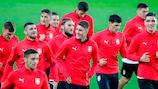 Jogadores da Sérvia treinam na Noruega