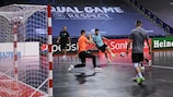 MFK Tyumen players during a training session before today's UEFA Futsal Champions League semi-finals
