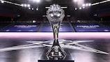 The UEFA Futsal Champions League trophy at Barcelona's Palau Blaugrana
