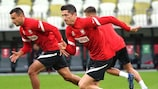 Robert Lewandowski à l'entraînement avec la Pologne