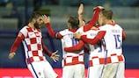 Os croatas festejam o golo que valeu a vitória