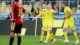 Viktor Tsygankov festeja o seu golo que deu a vitória à Ucrânia