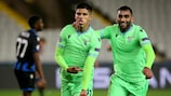 Joaquín Correa della Lazio festeggia il gol del momentaneo vantaggio nella sfida contro il Club Brugge