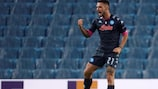 Napoli's Matteo Politano celebrates after scoring the 1-0 lead during the UEFA Europe League group F soccer match between Real Sociedad and SSC Napoli at Reale Arena stadium