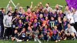 Lyon celebrate their 2019/20 UEFA Women's Champions League win