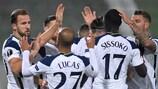 Harry Kane celebrates after scoring Tottenham's opening goal