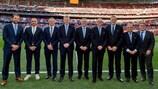 Los observadores técnicos de la UEFA antes de la final de la UEFA Champions League Final en 2019.