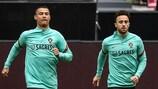 Cristiano Ronaldo and Diogo Jota train ahead of the France match