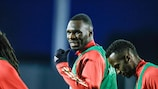 Belgium's Christian Benteke pictured during a training session of the Belgian national soccer team Red Devils, in Tubize, Saturday 14 November 2020. The Belgian team is preparing for its two last games of the Nations League. BELGA PHOTO BRUNO FAHY (Photo by BRUNO FAHY/BELGA MAG/AFP via Getty Images)