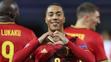 Belgium's Youri Tielemans (C) celebrates after scoring a goal during the UEFA Nations League football match between Belgium and England, on November 15, 2020 at Den Dreef stadium in Louvain. (Photo by Kenzo Tribouillard / AFP) (Photo by KENZO TRIBOUILLARD/AFP via Getty Images)