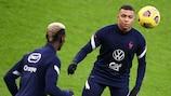 France forward Kylian Mbappé and Paul Pogba in training at the Stade de France
