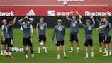 Deutschlands während des Trainings in Sevilla