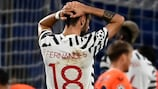 Manchester United's  Bruno Fernandes reacts during the reverse fixture in Istanbul