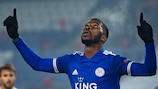 Kelechi Iheanacho celebrates opening the scoring against Braga in Leicester