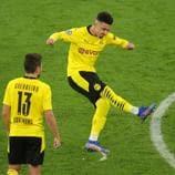 Mira el gran lanzamiento de falta de Jadon Sancho que ayudó al Dortmund a superar al Brujas.